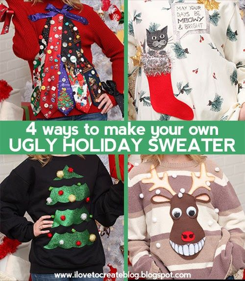 iLoveToCreate Blog: 4 Ways to Make Your Own Ugly Holiday Sweater ! We created ours using a variety of fun Aleene's adhesive and Tulip Sparkle products including Tulip Dimensional Paints a.k.a. Puffy Paints!
