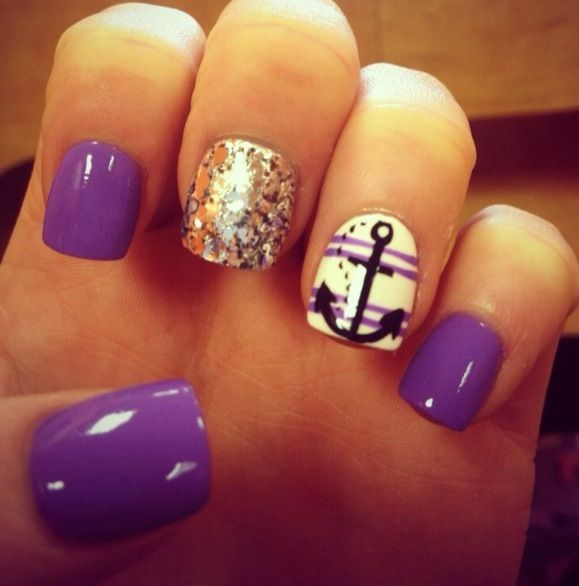 purple, gold sparkles + anchor nails! - Images About Nail Designs On Pinterest Cute Christmas