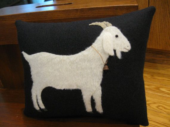 Primitive Folk Art Goat Wool Applique Pillow by Justplainfolk
