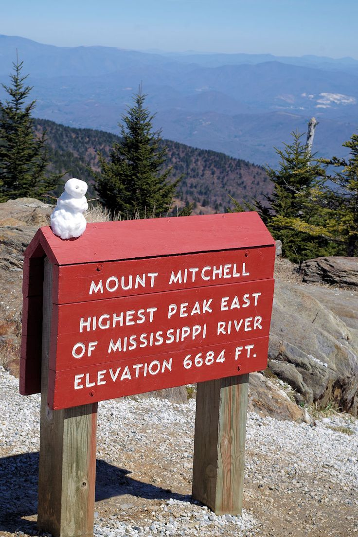 Mt. Mitchell Summit in early spring after a little snow - near Asheville, North Carolina. The highest peak east of the Mississippi. Guide: https://www.romanticasheville.com/mtmitchell.htm
