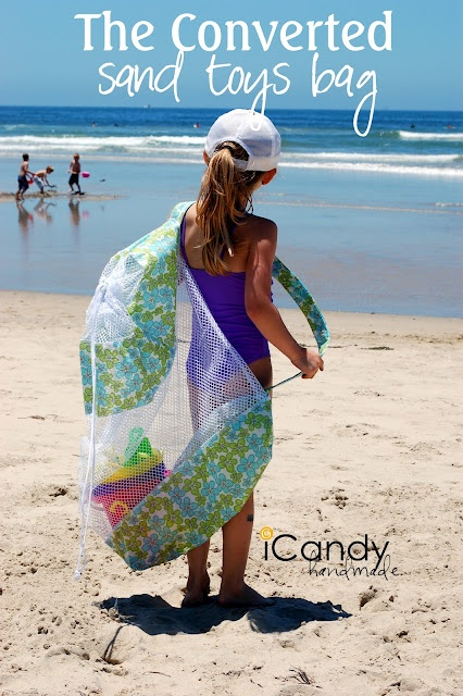 Great bag for the beach ~ made from a mesh laundry bag and some fabric