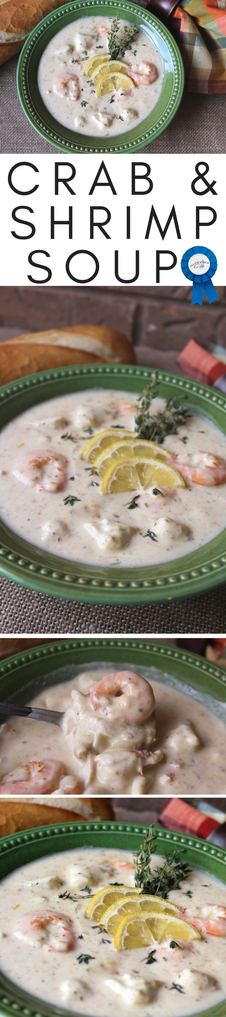 This creamy soup is not only quick and easy to throw together, but it is so good. Full of shrimp and big sweet lumps of crab, the flavor combinations are great!