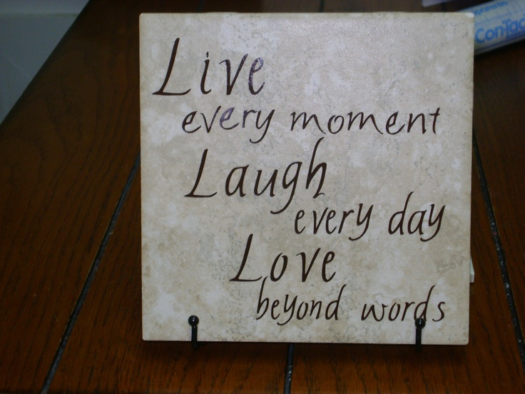 Ceramic Tiles With Sayings : Ceramic tile with live laugh love quote via