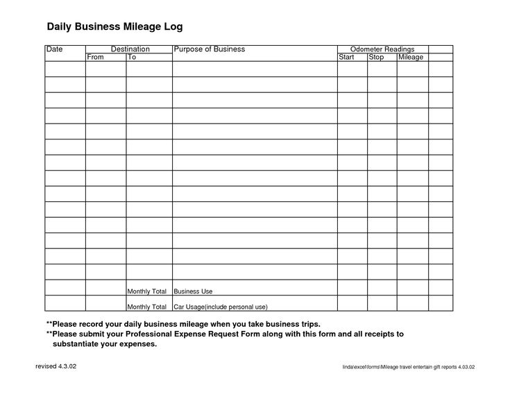 Daily Business Mileage Log | Places to Visit | Pinterest ...