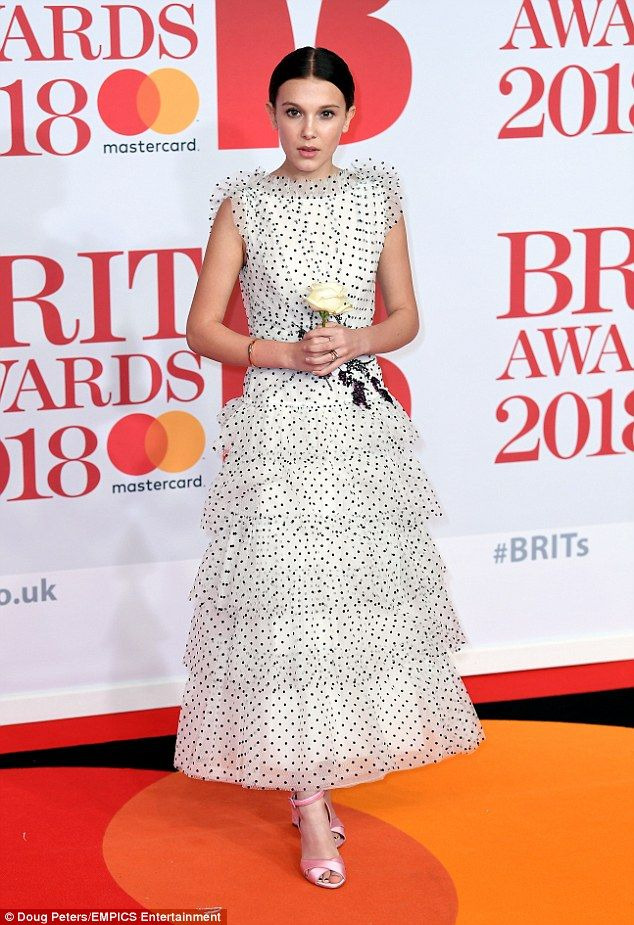 Music lover: Millie Bobby Brown looked thrilled to join a host of stars at the BRIT Awards...