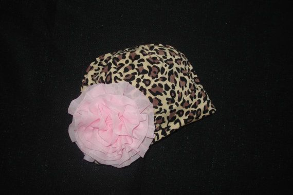 Leopard Baby Girl Beanie Hat with Chiffon Flower. $7.99,     http://www.etsy.com/listing/120623602/leopard-baby-girl-beanie-hat-with?#