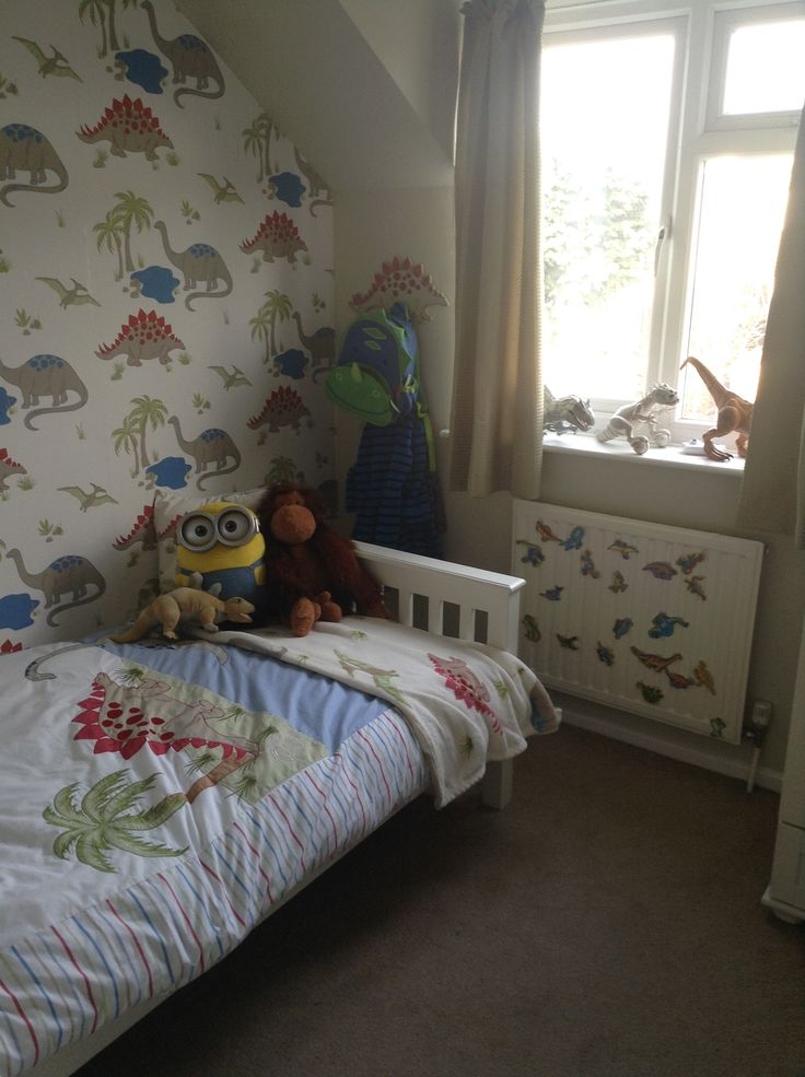 dinosaur room laura ashley wallpaper and bedding dulux jurassic paint and pointing by farrow