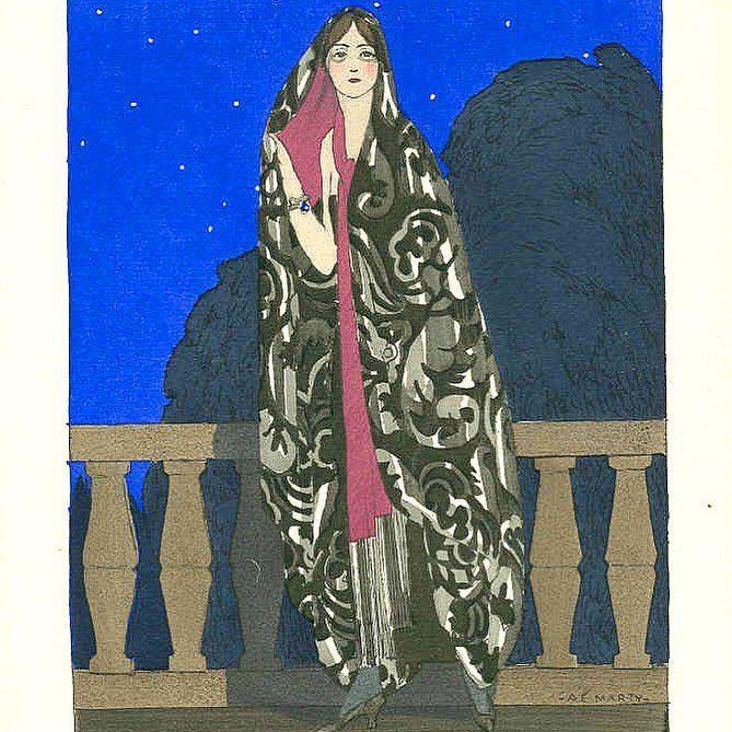 Evening cloak by #PaulPoiret as illustrated by #AndréEdouardMarty for #Gazettedubonton, 1922. #1920sfashion #1922fashion #hautecouture #fashionillustration #fashionhistory #hautecouture #theartofdress #fashionandtheartofpochoir