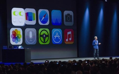 Apple's Craig Federighi, Vice President of Software Engineering, introduces iOS7 at a keynote address during the 2013 Apple WWDC at the Moscone Center on June 10, 2013 in San Francisco, California.