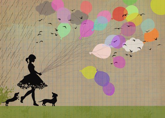 {girl with balloons & doxies} how sweet is this?