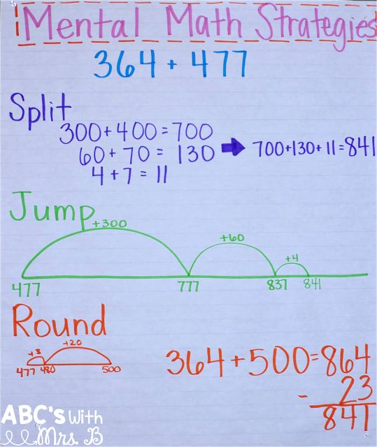 Mental Math Addition Strategies - giving students opportunities to practice their math skills in various ways using jump, split, and round strategies.