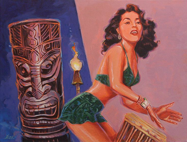 "Tiki Tarts- She's Gone With The Hula Hula Boys by Shawn Shea | $750 | 16""w x 12""h 
