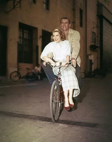 James Stewart & Grace Kelly on the set of Rear Window. (1954)