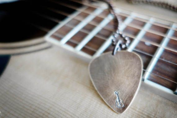 Mens Necklace Mens guitar pick Necklace, guitar, guitar pick, unique mens gift, by WyomingCreative
