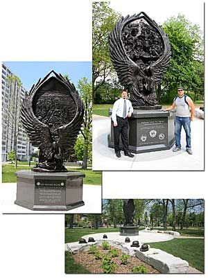 Fallen Firefighters Memorial in Kitchener, Ontario, Canada, sculpted by Tim Schmalz - photo from superiormemorials; won an award in 2006 for 1st Place Public/Civic Memorial; two different relief images