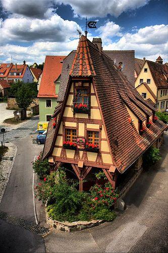 Quaint house in Rothenburg ob der Tauber, Bavaria, Germany