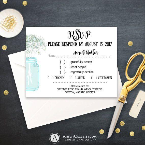 Blue RSVP Card Printable Rustic Mason Jar & Baby's Breath Teal Response Card Instant Download Wedding Reply Card EDITABLE Digital Template