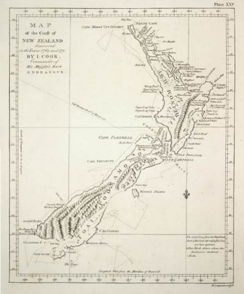 The map made by Captain James Cook in the 'Endeavour' upon circumnavigating New Zealand. - Capt. James Cook; b. 1728 Marten, UK; British explorer, navigator, cartographer
