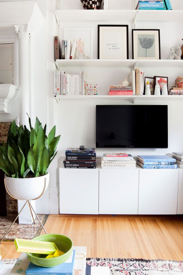 Living Room Makeover | Oh Happy Day!  hacked ikea shelves, solution for TV?