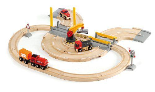 Brio 33208 - Set de carretera y vías de tren con grúa de mercancías (26 piezas, 59 x 56 cm) [importado de Alemania] Brio http://www.amazon.es/dp/B003AVMUS6/ref=cm_sw_r_pi_dp_X7exwb19PQ5XS