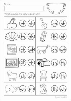 Kindergarten SUMMER Review Math & Literacy Worksheets & Activities. 104 pages. A page from the unit: Beginning digraphs