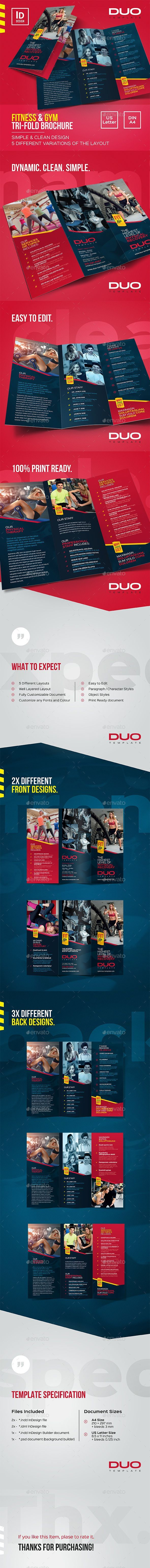 Fitness & Gym Tri-fold Brochure  Brochures Print Templates Download here : grap