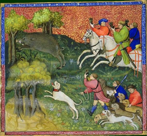 Le livre de chasse, folio 73   ci devise comment on doit aller laisser courre pour le sanglier