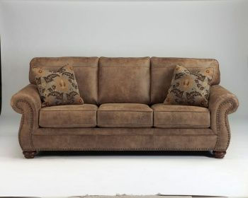 Dramatically transform your living space with the rustic look of weathered leather you love—at a fraction of the cost. That's the beauty of this faux leather sofa. Washed in earthy Southwestern tones, with generous back and seating support and jumbo window-pane stitching—it envelops you in comfort and quality. Classic elements such as rolled arms and turned feet bring in just enough traditional touch. - - Product Features Corner-blocked frame Tight back and loose seat cushions Cushions ...