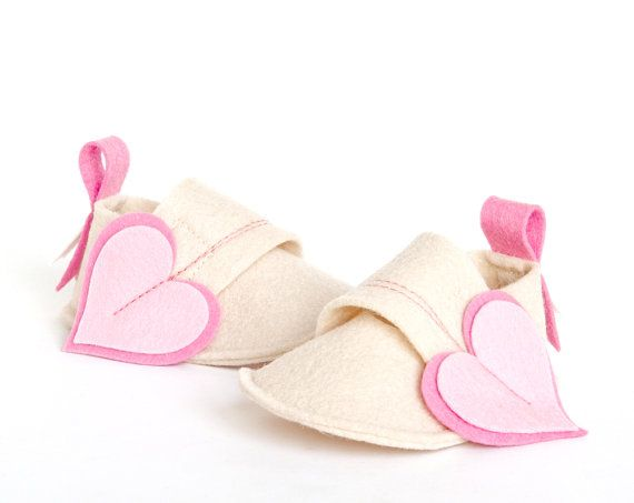 Newborn baby crib shoes Natural Heart ecru white & by LaLaShoes, $38.00
