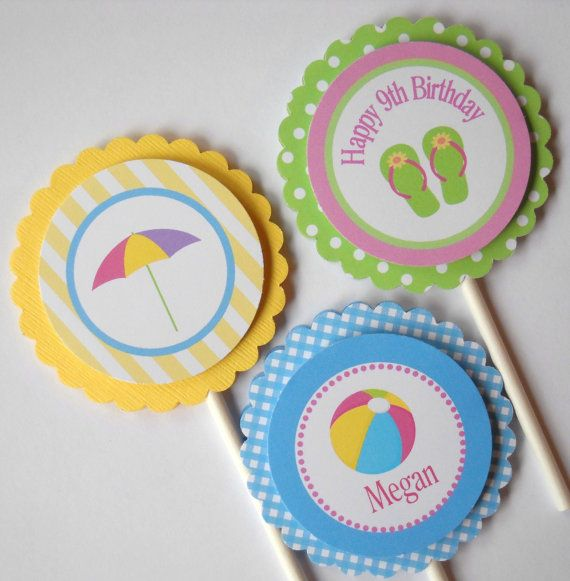 POOL PARTY CUPCAKE Toppers/ Swim Party Summer Personalized Party Decorations/Set of 12/Matching Favor Tags, Invitations Available