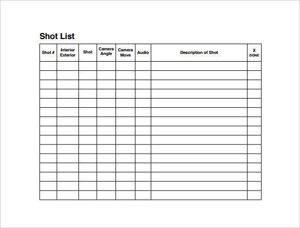 Shot List Templates 10+ Free Printable Word, Excel  PDF