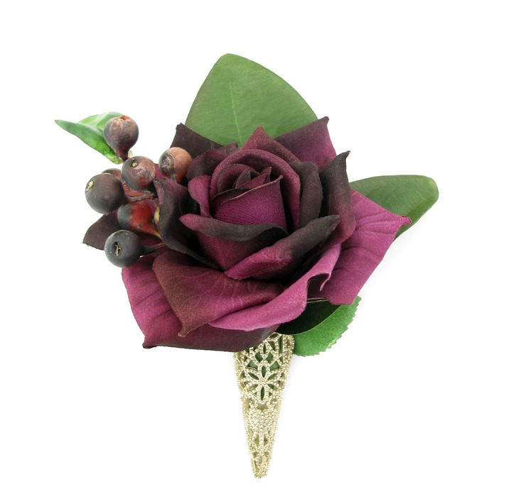 Matching free buttonhole to go with:  http://www.pinterest.com/pin/151926187405597327/ Purple rose with blueberries, magnolia leaves and a vintage-style buttonhole fastener.