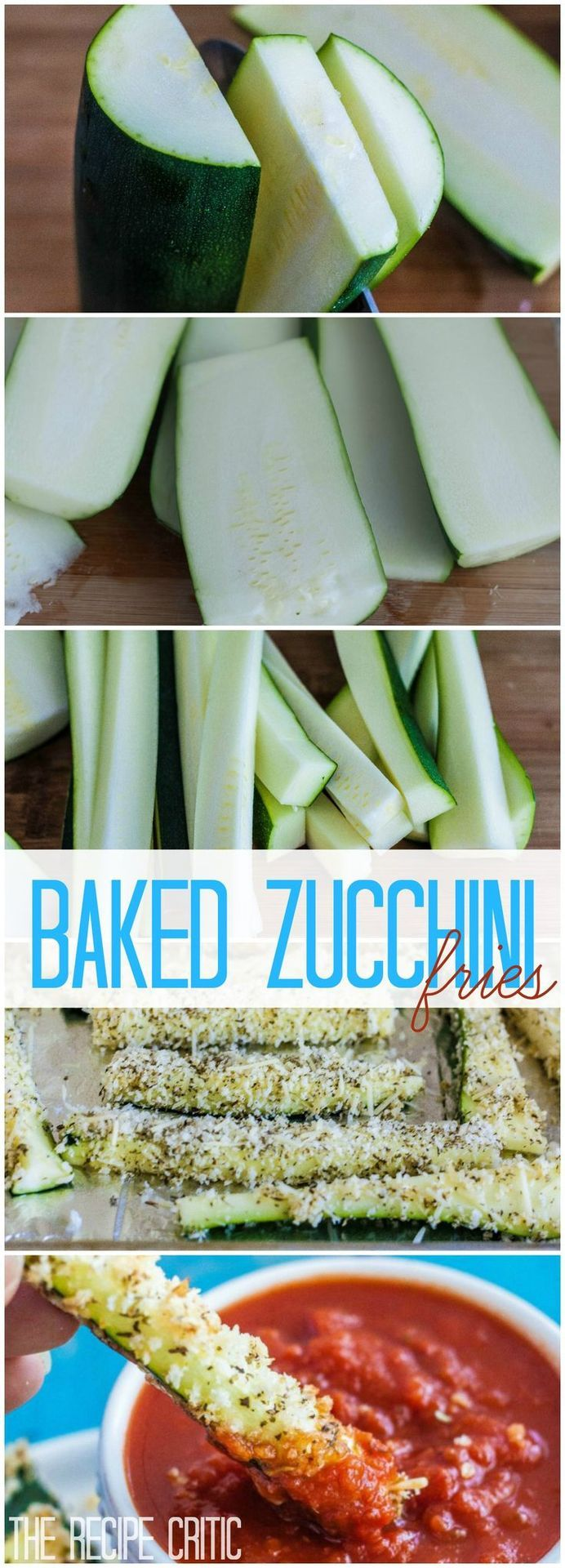 Baked Zucchini Fries. A healthy and delicious alternative to french fries! Use gluten free panko breadcrumbs or coconut for a crunchy finish!