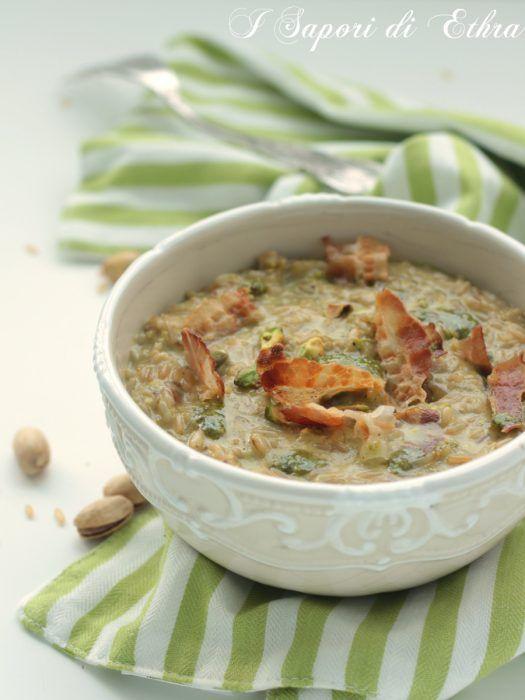 Risotto al pistacchio con pancetta e scamorza affumicata