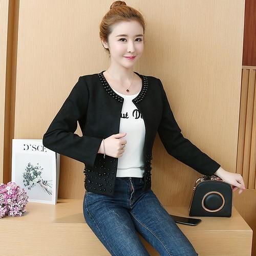 fashion long sleeve autumn jacket women clothes plus size 3 4 Solid pink elegant beading outwear women jacket coat A295