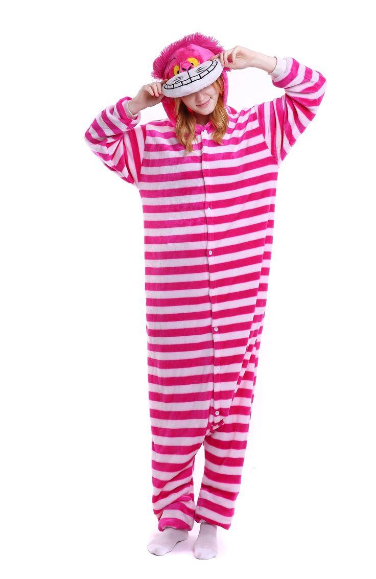 kigurumi pink red Cheshire Cat onesies animal pajamas for adults