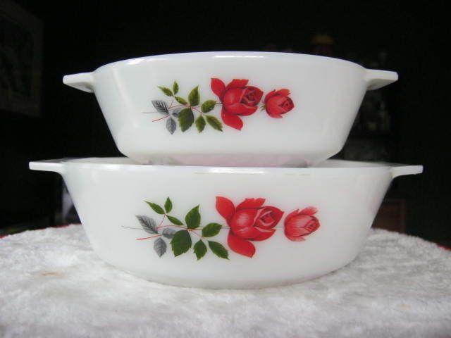 Vintage JAJ Pyrex , June Rose, #506 & #509 Casseroles.