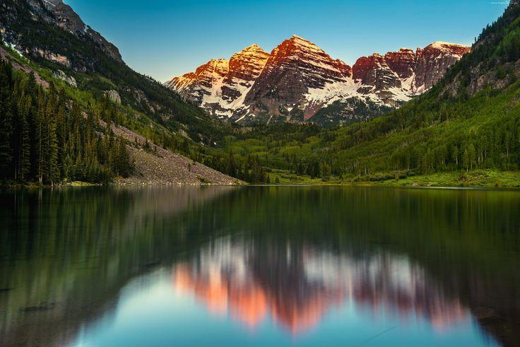 Góry, Jezioro, Drzewa, Odbicie