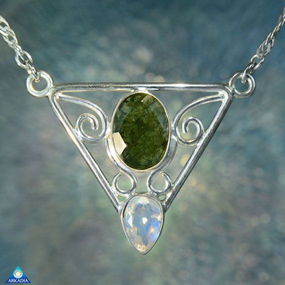 Rainbow Moonstone & Faceted Moldavite by ArkadianCollection