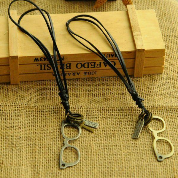 Кожаный шнур ожерелье студенты аксессуары кожа мужчины длинная свитер на цепи ожерелье кожа искусство глаза