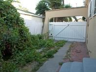 This homeowner's L-shaped yard is overrun with untamed hedges and weeds.