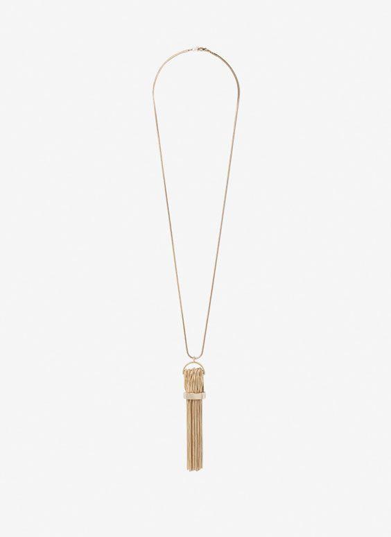 Uterqüe Russia Product Page - Бижутерия - Просмотреть все - Длинное ожерелье с кисточкой из цепочек - 5990