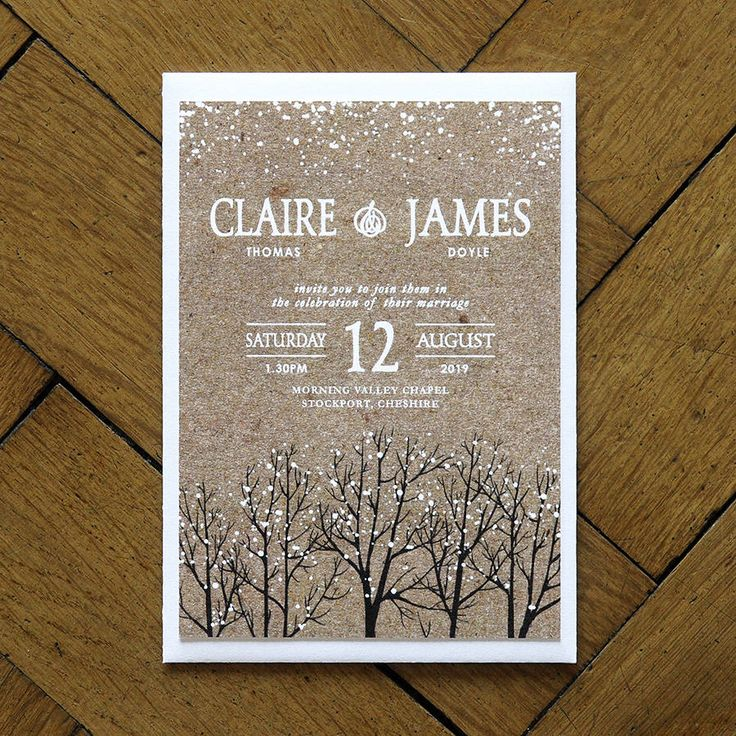 Winter Snow Wedding Invitations And Save The Date