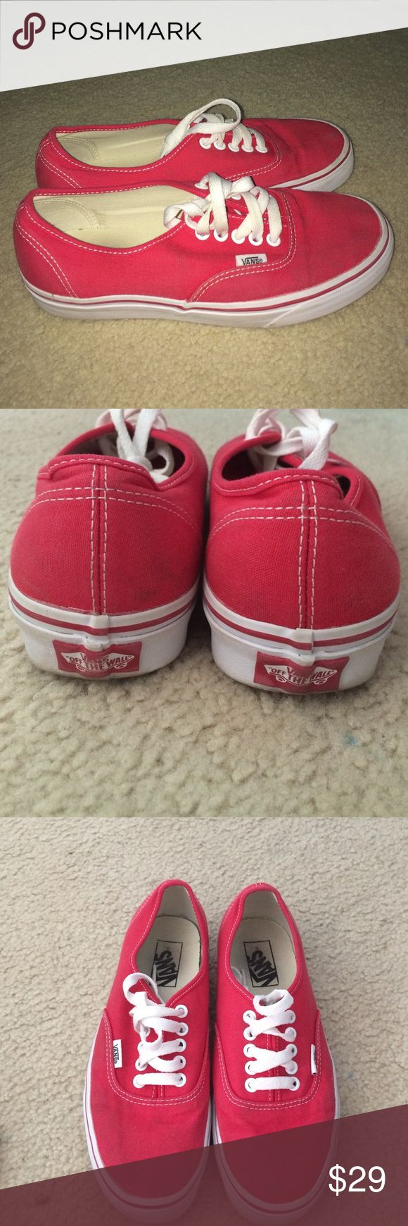 Vans classics Classic red vans. Good condition, barely worn. 6.5M 8W. One slightly visible stain on front of shoe. Make an offer if interested!😁 Vans Shoes Sneakers