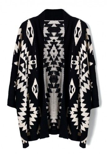 Aztec Open Knit Cardigan