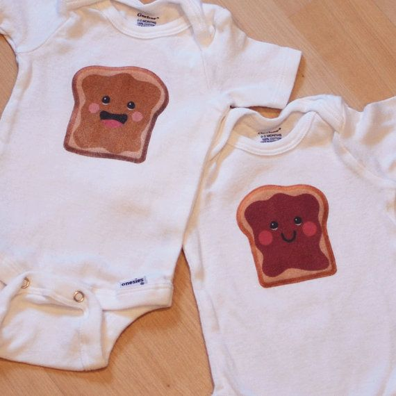 PB onesies for twin babies