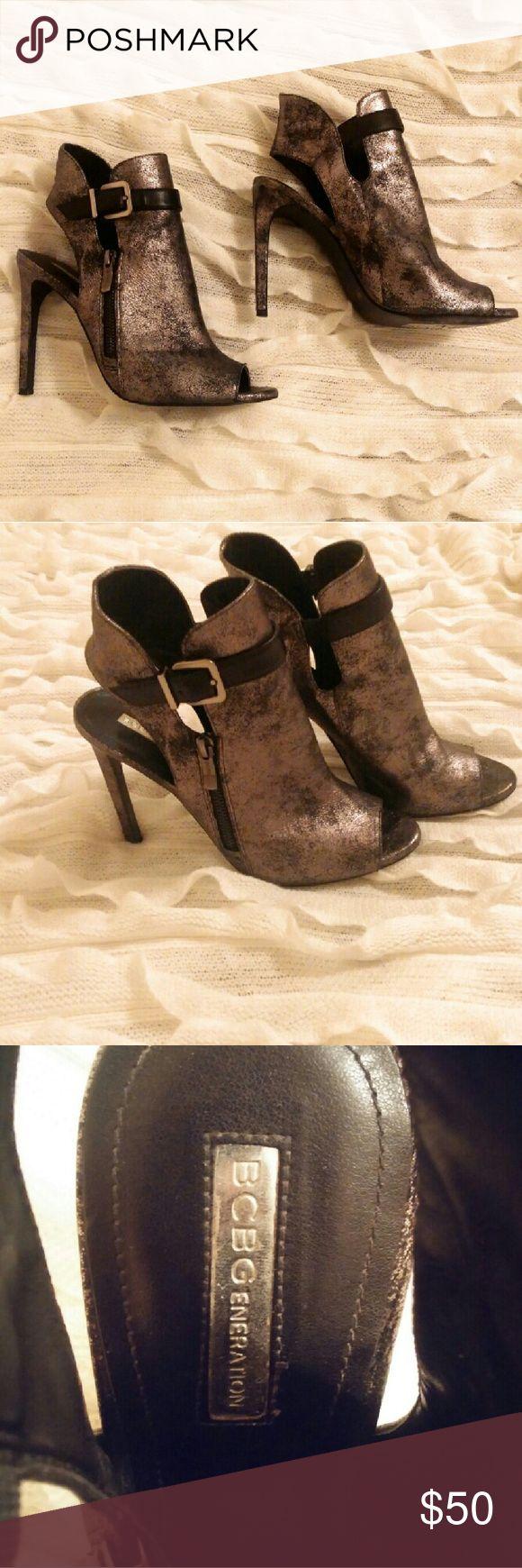 BCBG Metallic Navy Heels Metallic Navy Blue Heels, 9m Only worn 4 times; Love them but cannot wear high heels anymore BCBGeneration Shoes Heels