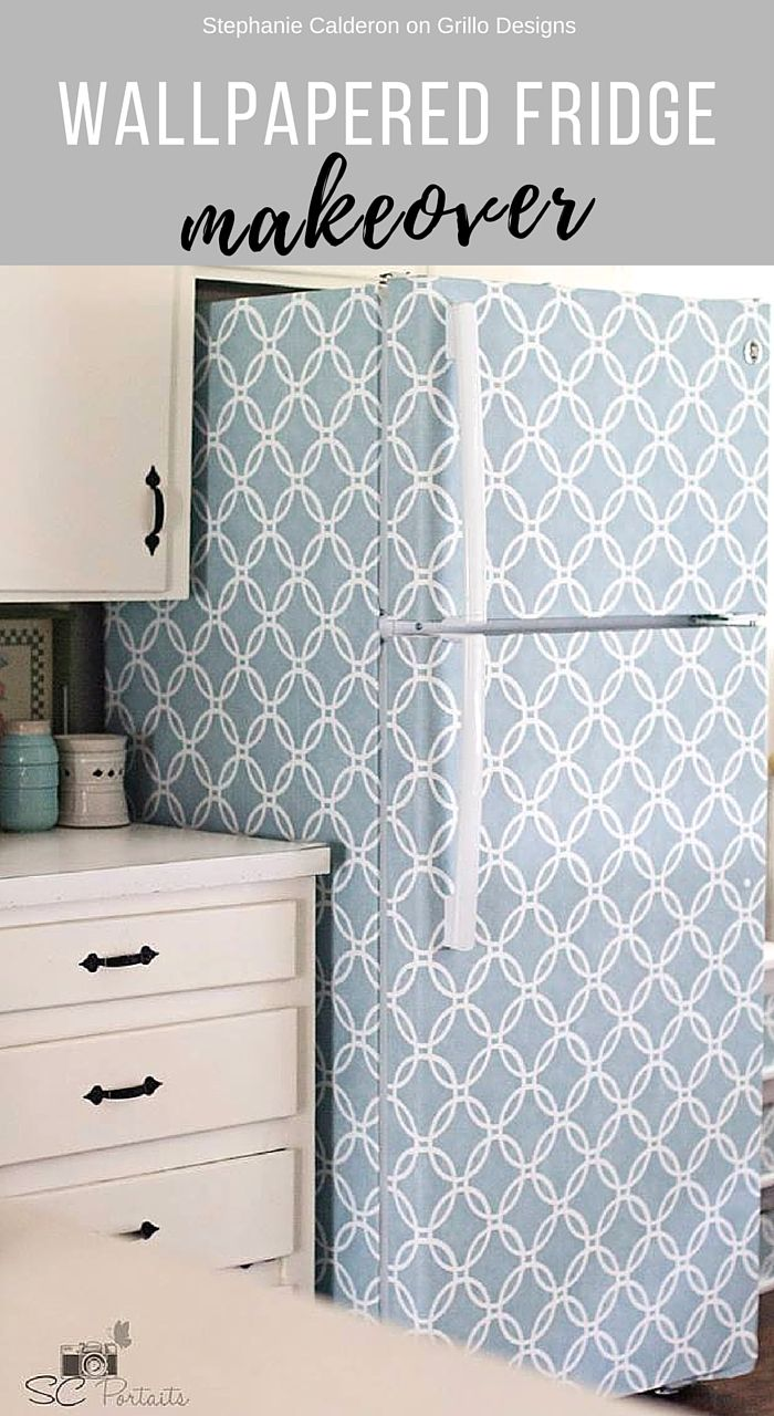 Wallpapered Fridge Makeover • Grillo Designs