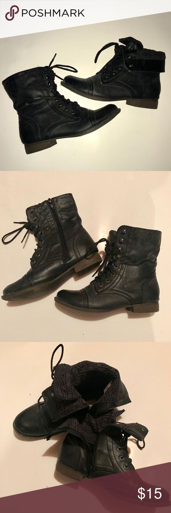 Black Fold-over Lace Combat Boots Black fold over combat boots with lace/crochet design on inside. Side zipper. Only worn a few times so they are in great condition except small scuff on toe of one boot. Aeropostale Shoes Combat & Moto Boots