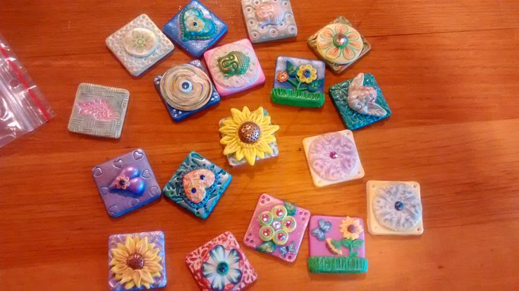 Polymer clay inchies by Katie for this year's NWPCG Clay Camp swap